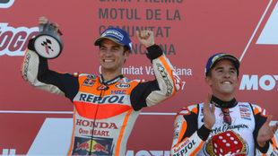 Dani Pedrosa y Marc Márquez en el GP de Valencia 2017 / Repsol