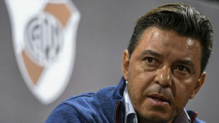 Marcelo Gallardo, en una rueda de prensa de River Plate.