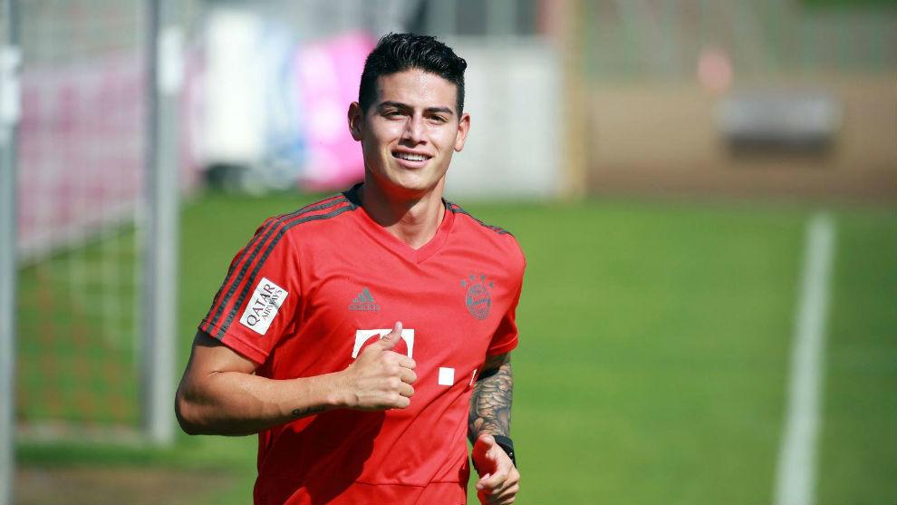 James Rodríguez en uno de los entrenamientos del Bayern Munich