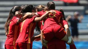 Las jugadoras españolas celebran un gol ante Canadá
