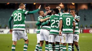 ugadores del Sporting celebran un gol hoy, jueves 29 de noviembre de...