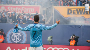 Villa celebra un gol con el New York City.