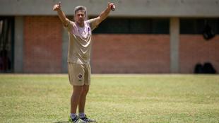 Lucas Pusineri durante un entrenamiento con el Cúcuta Deportivo.