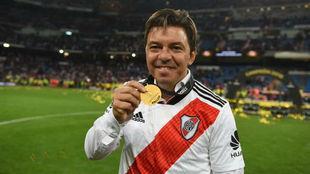 Gallardo celebra la victoria en la final de Libertadores jugada en el...