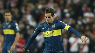 Gago, durante la final de Libertadores jugada en el Santiago Bernabéu...