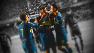 Edwin Cardona celebra un gol con Boca Juniors