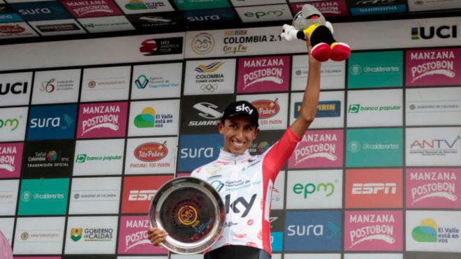 Egan Bernal, en el podium de la Colombia Oro y Paz