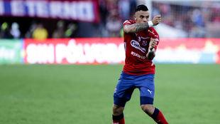Leo Castro celebra uno de los dos goles que marcó en la final de Liga...