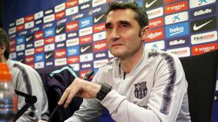 Ernesto Valverde, durante la rueda de prensa previa al duelo con el...