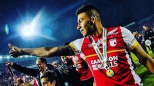 Yeison Gordillo celebra el título de Copa Sudamericana