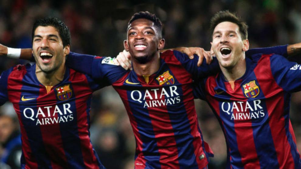 Súarez, Dembélé y Messi