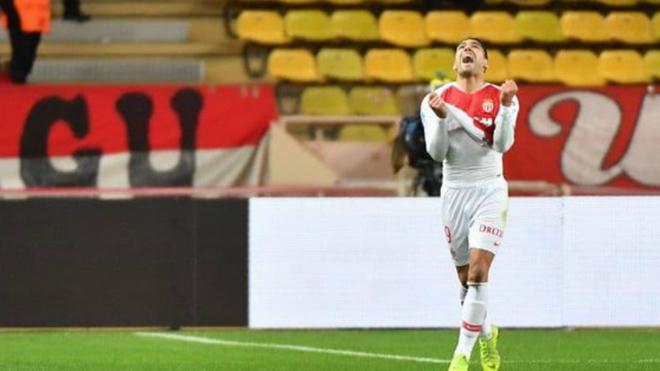 Falcao festeja su primer tanto de 2019 con el AS Mónaco.