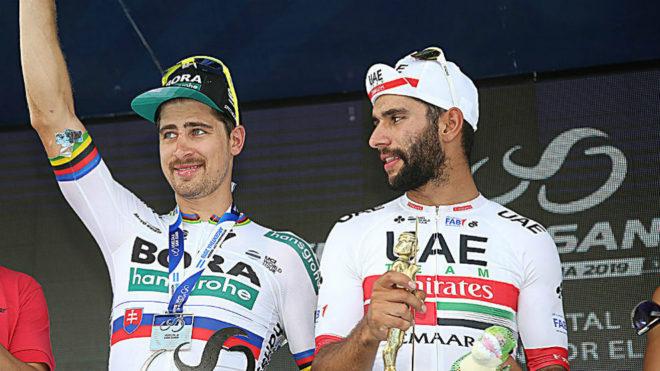 Los dos amigos en el podio de la cuarta etapa de la Vuelta a San Juan...