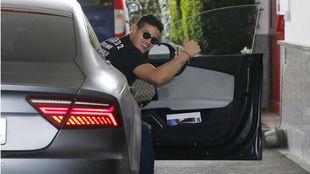 James llegando a un entrenamiento con el Bayern de Múnich