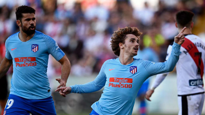 Griezmann celebra el gol que dio la victoria al Atlético