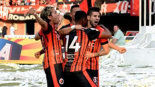 Celebración del Cúcuta tras el gol de Carlos Mosquera