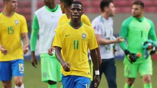 Vinícius, durante un partido con Brasil sub 20