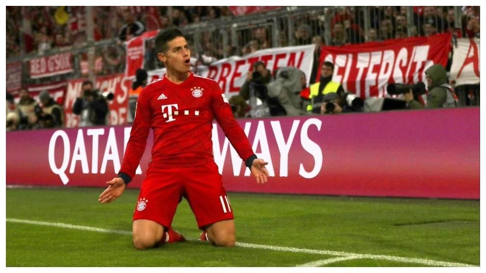 James Rodríguez celebra uno de sus goles con el Bayern Munich