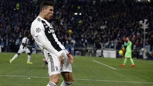 Gesto de la celebración de Cristiano Ronaldo ante el Atlético de...