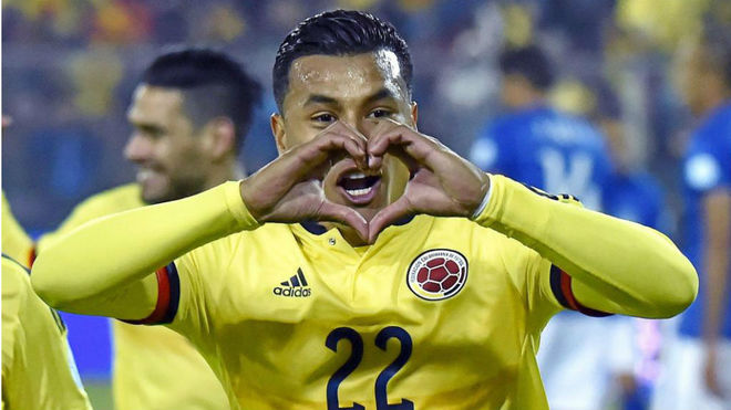 Jeison Murillo celebra un gol con Colombia