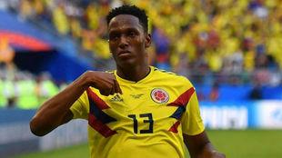 Yerry Mina celebra un gol con Colombia