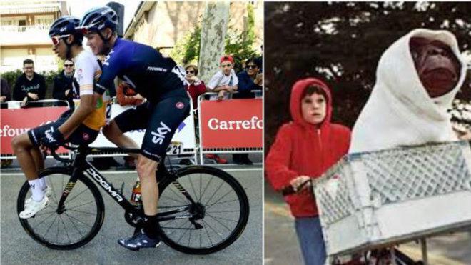 Froome llevando a Bernal encima de su bicicleta