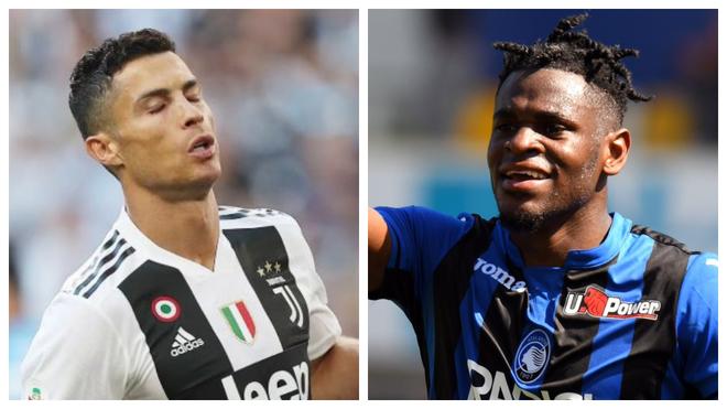 Cristiano Ronaldo y Duván Zapata, atacantes de la Serie A.