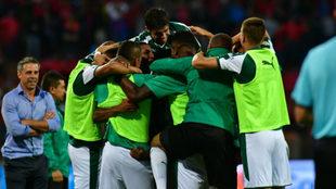 El cuadro verdiblanco celebrando un gol en plena Liga Águila /...