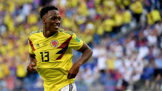 Yerry Mina celebra uno de los tantos logrados en el pasdo Mundial de...