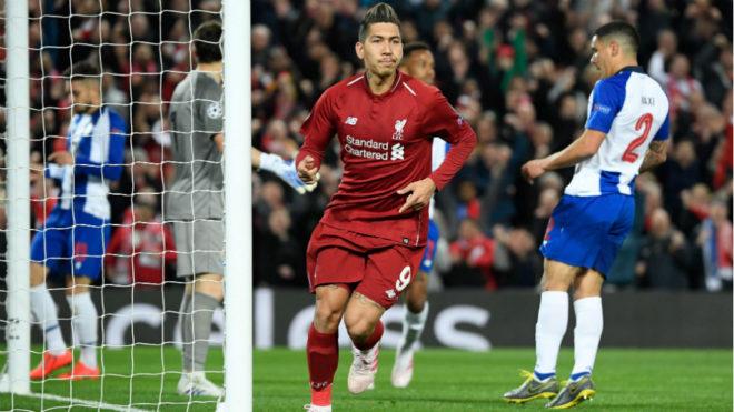 Firmino celebra su gol al Porto en la ida de los cuartos de Champions