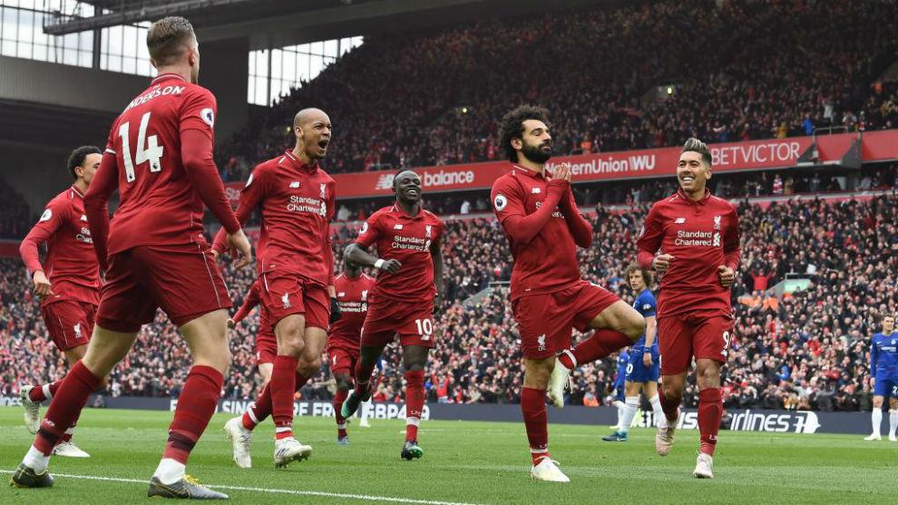 Salah y los atacantes del 'Pool' celebran el 2-0.
