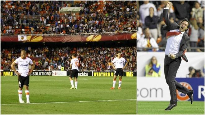 Emery celebra el gol de Mbia para el Sevilla ante el Valencia / José...