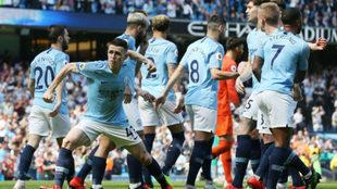 Foden celebra el gol que dio la victoria al City