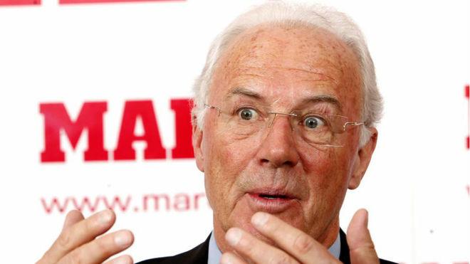 Beckenbauer, durante una visita a MARCA