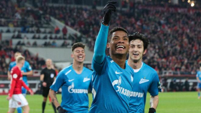 Wilmar Barrios celebra su único gol con el Zenit de Rusia.