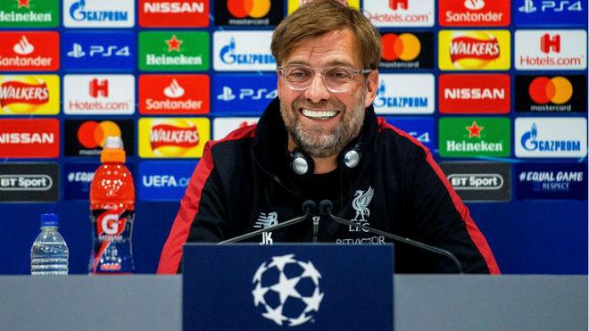 Klopp, durante la rueda de prensa previa al duelo con el Barcelona en...