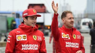 Leclerc y Vettel / AFP