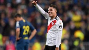 El colombiano Quintero en un partido con River Plate