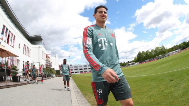 James Rodríguez, en las instalaciones del Bayern /