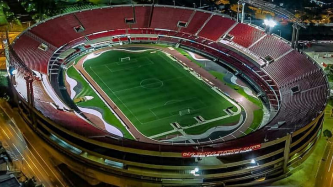 Vista aérea del estadio Morumbi en Sao Paulo.