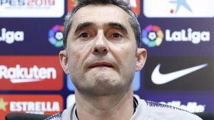 Valverde, durante la rueda de prensa anterior al duelo con el Getafe