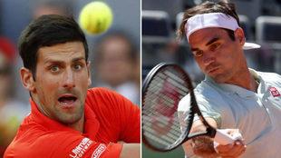 Djokovic y Federer en acción