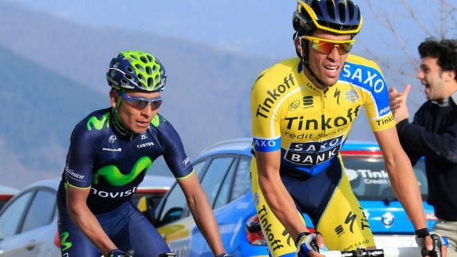 Nairo Quintana y Alberto Contador durante una carrera.