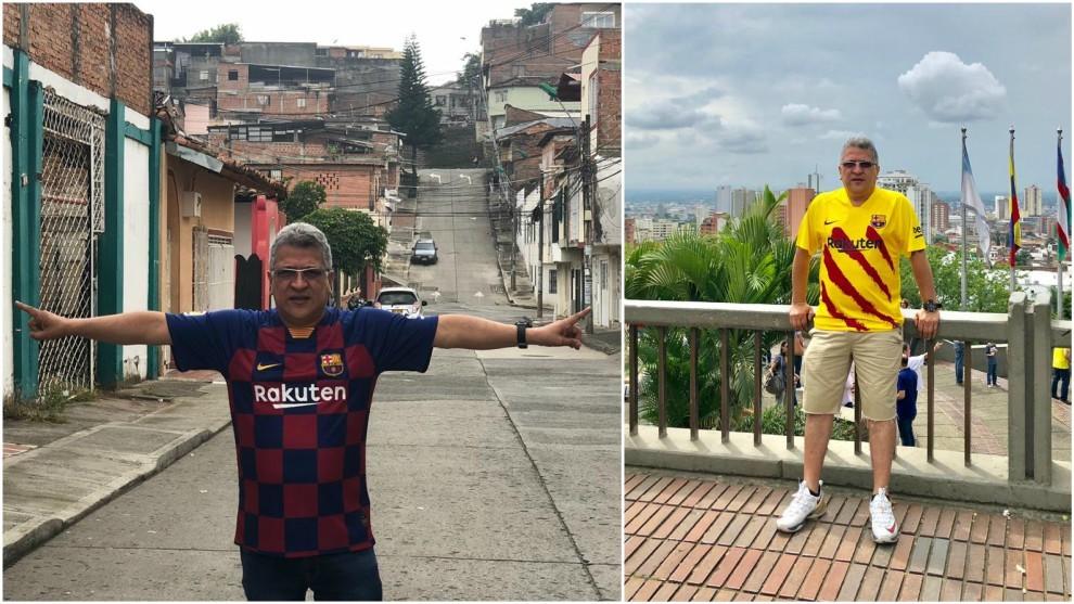 Pedro Pablo Bonilla, con dos camisetas del Barcelona de la temporada 2019/20.