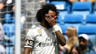 Marcelo se lamenta tras un gol del Betis