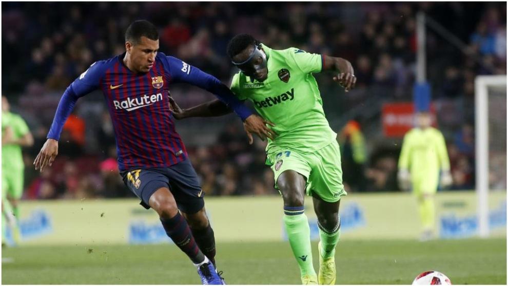 Jeison Murillo, en un partido con el Barcelona.