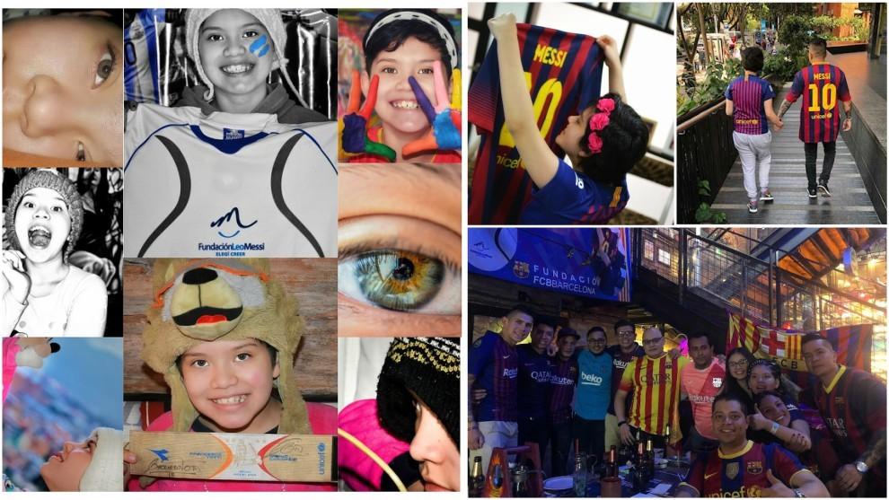 Nicol Morales, en varias imágenes y con la Peña Corazón Blaugrana...