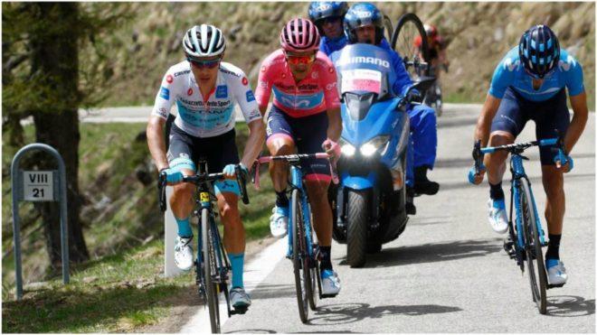 El colombiano en plena acción de la etapa 20 del Giro de Italia 2019
