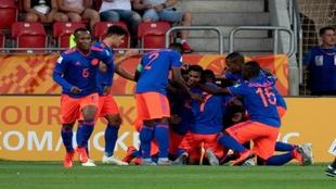 Celebración de un gol de Colombia Sub 20 contra Nueva Zelanda.