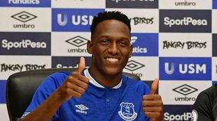 Yerry Mina, durante su presentación como jugador del Everton